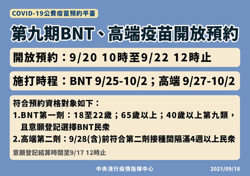 第九期提供接種BNT、高端疫苗。圖/取自衛福部臉書