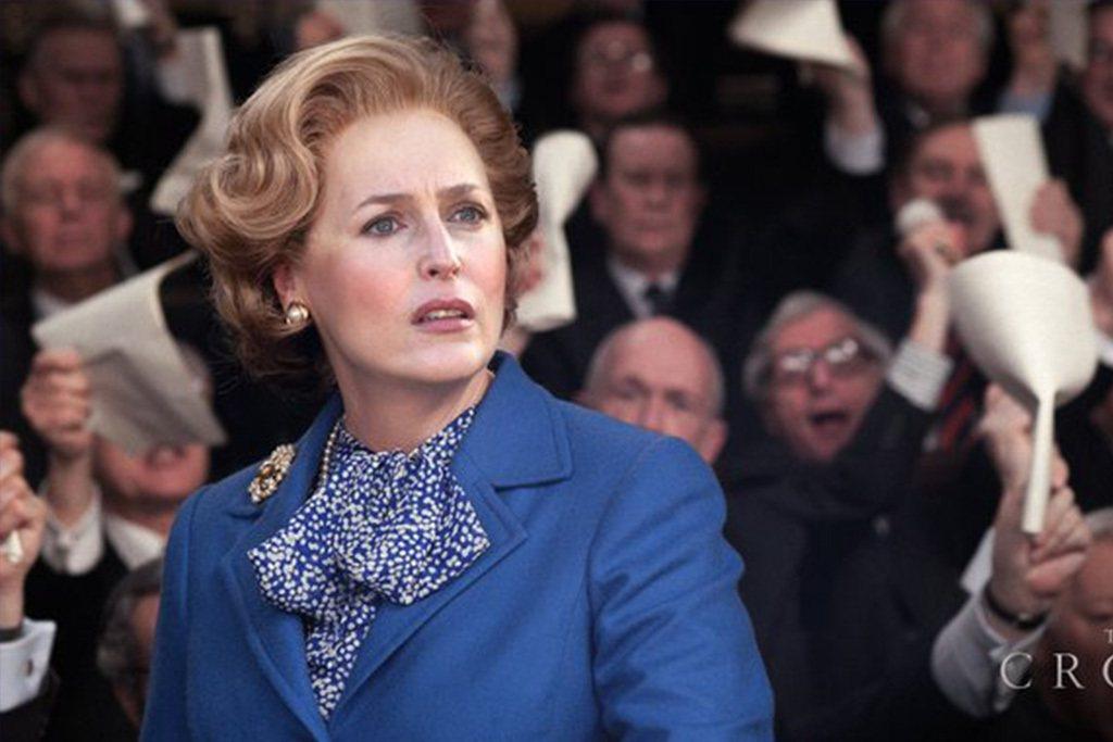 姬蓮安德森以「王冠」中的柴契爾夫人一角,獲得艾美獎最佳戲劇影集女配角。圖/摘自i...