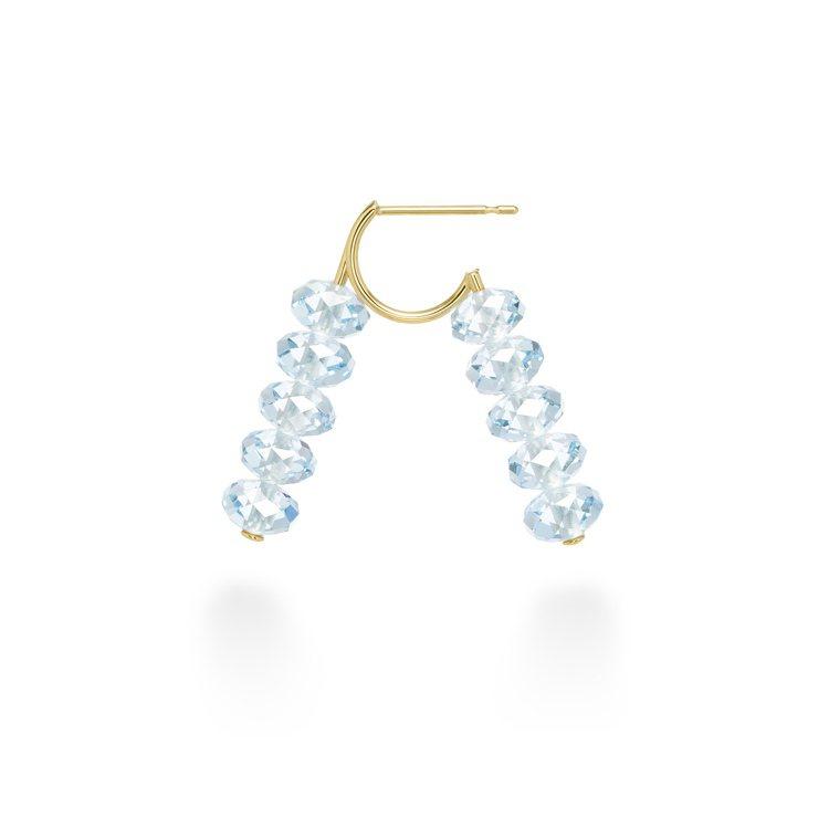 AHKAH spring sequin耳環藍色托帕石款,31,200元。圖/AH...