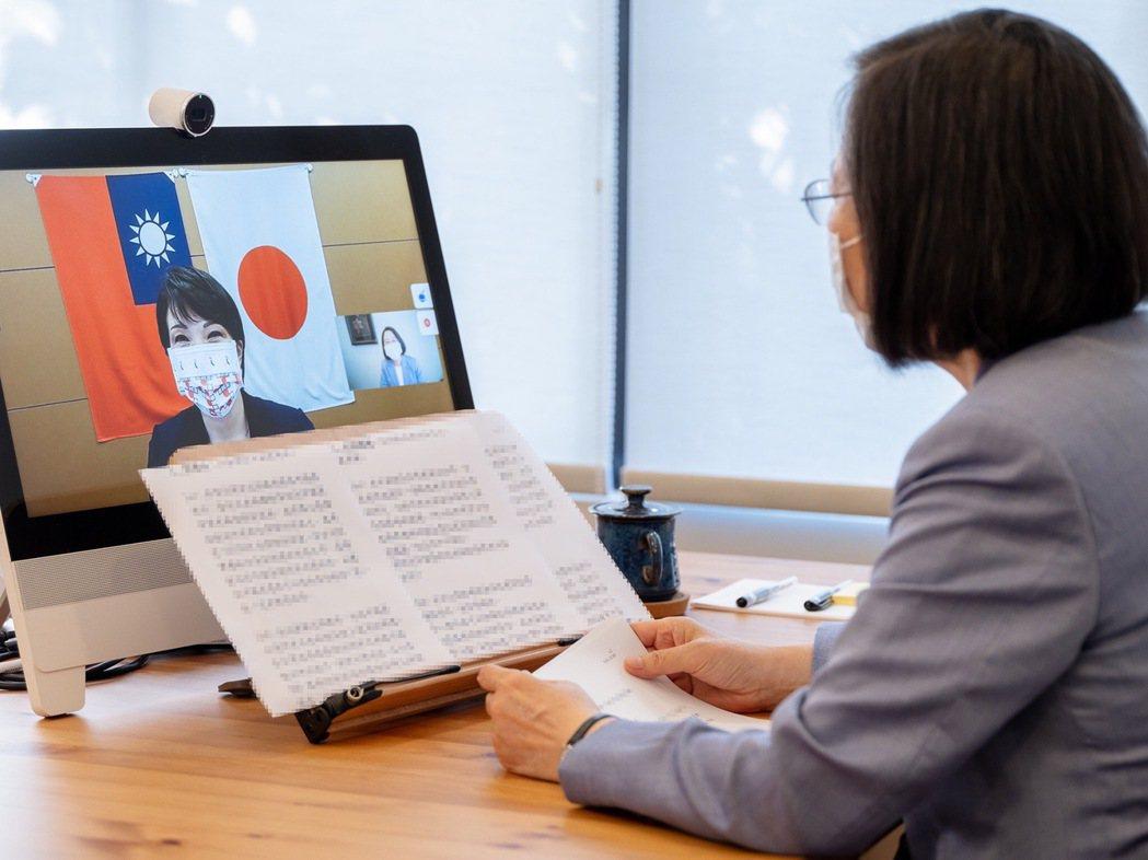 民進黨主席蔡英文今天與日本眾議院議員高市早苗進行視訊會談。圖/民進黨提供