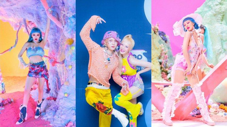 (左)泫雅穿DOLLS KILL的KANDI金屬龐克系列;(中、右)服裝也是改造...