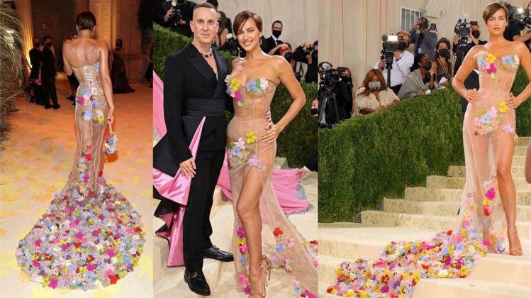 俄羅斯超模伊莉娜沙伊克身穿MOSCHINO繽紛立體花卉禮服,遠看像QQ彩色圓。圖...
