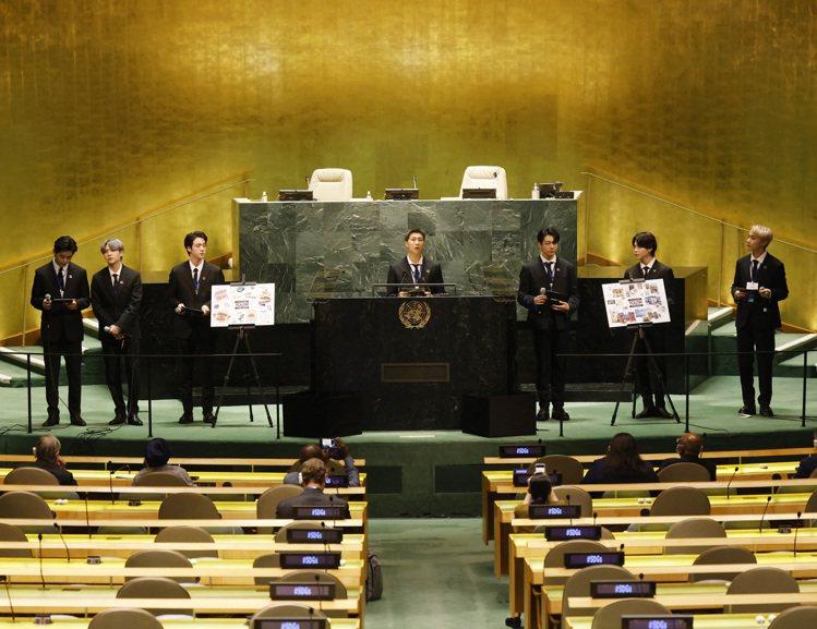 防彈少年團出席紐約聯合國總部舉辦的活動。(美聯社)