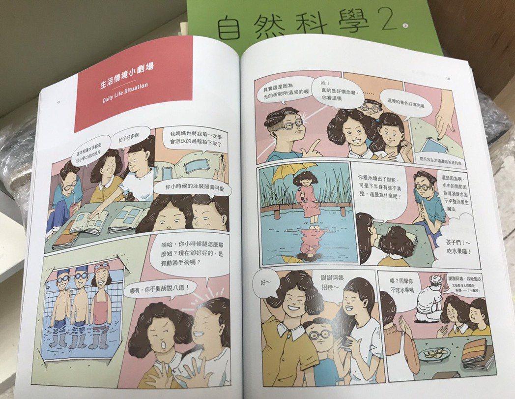 新課綱重視素養,自然課本各章節以漫畫為開頭,接著帶入正題,除課本頁數提升、彩色印...