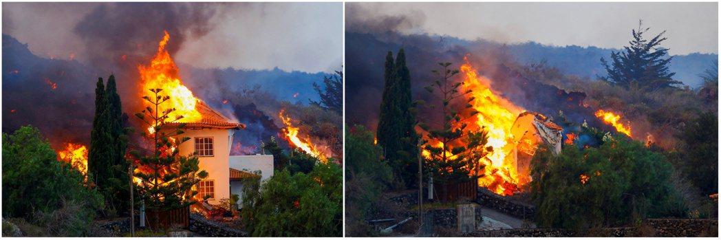 拉帕馬島老峰火山噴發,據報當地飯店與住宅約1百棟房屋被毀。路透