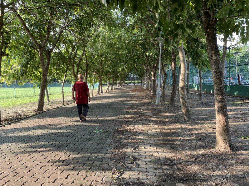 台南新營區國家圖書館南部分館現況有許多體育設施,周邊民眾要求繼續提供使用。圖/議員蔡育輝提供