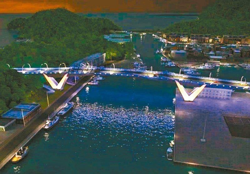 「鯖魚尾」造型的南方澳跨港大橋橋墩,夜間光雕照射下,相當亮眼。圖/蘇花改工程處提供模擬圖