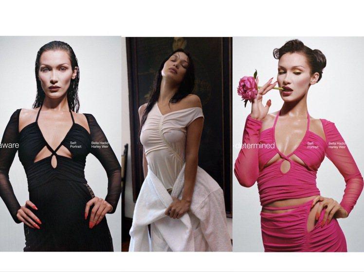 貝拉哈蒂德代言Self-portrait 2022夏季形象,品牌服裝畫風丕變。圖...