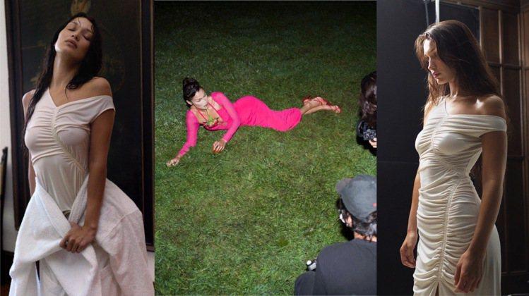 貝拉哈蒂德代言Self-portrait 2022夏季形象,官網上有拍攝花絮。圖...