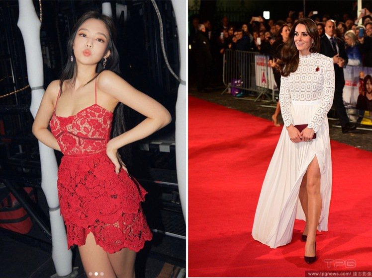 BLACKPINK的Jennie和凱特王子妃都曾穿著Self-portrait裙...