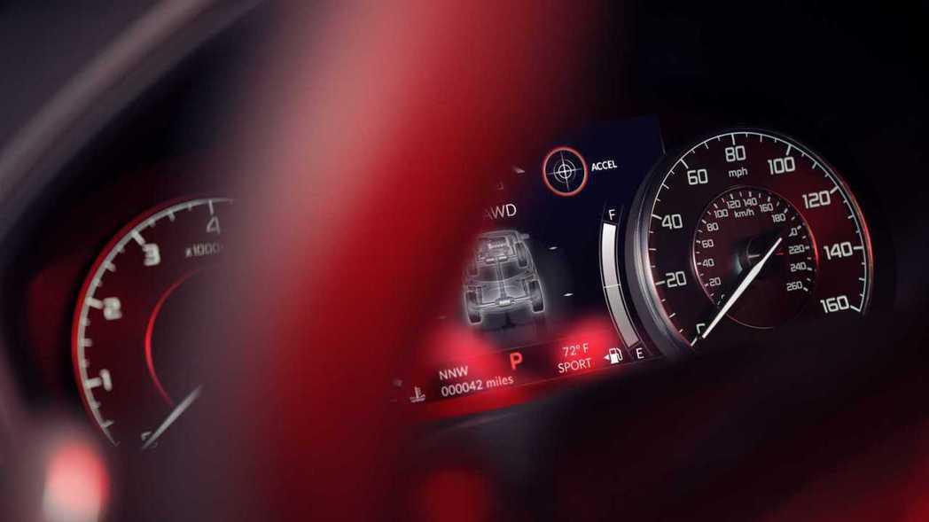 小改RDX在雙圓式指針儀表中間配備了7吋數位螢幕。 摘自Acura