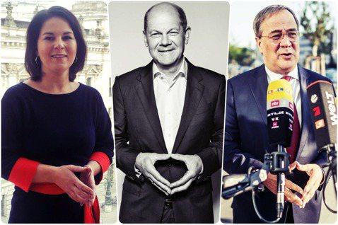 「梅克爾菱形」(Merkel Raute)的繼承者?由左至右分別是:綠黨的貝爾柏...