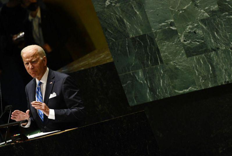 21日,美国总统拜登在纽约联合国总部向联会国大会发言。法新社(photo:UDN)