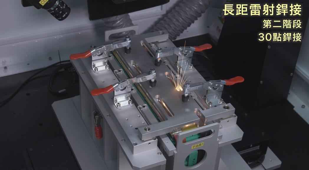 鋰電池接點雷射銲接。 工研院雷射中心/提供