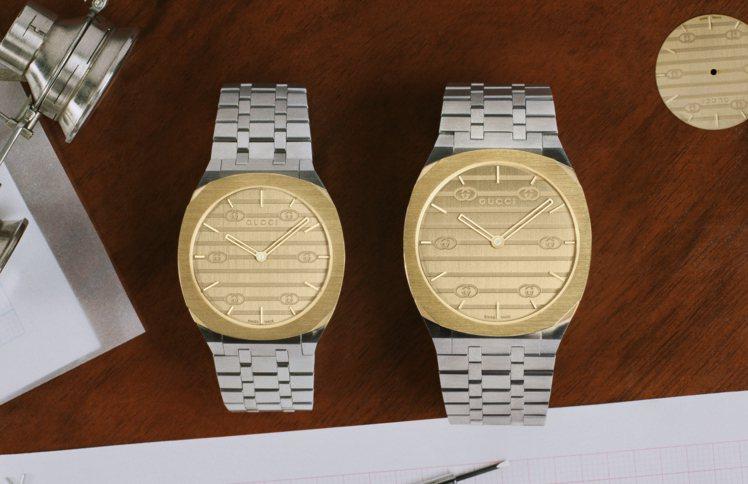 新款25H腕表也具有鍍18K黃金裝飾、不鏽鋼表殼與金色黃銅表面的兩種不同尺寸,各...