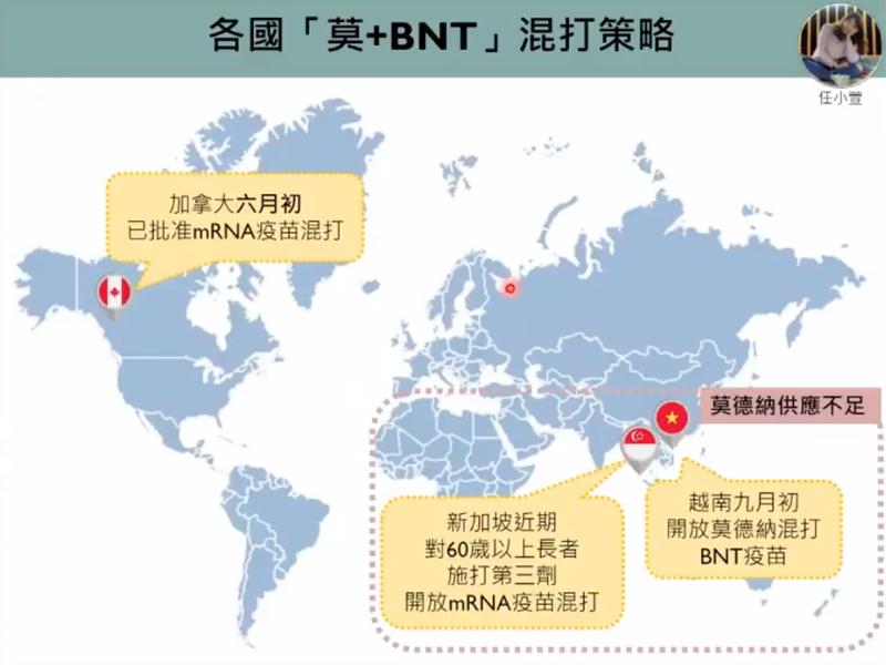 加拿大、新加坡、越南已批准莫德納混打BNT疫苗。圖/擷取自新冠肺炎防疫科學線上直播