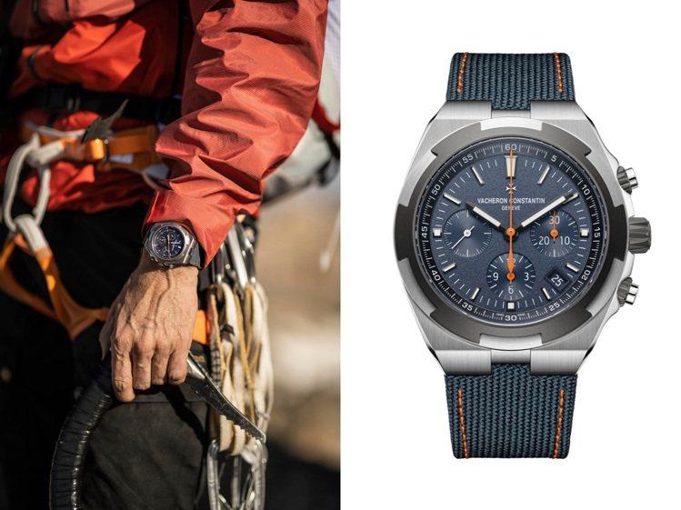 全新Overseas限量Everest腕表,以橘色細節呼應登山者的冒險與動感精神...