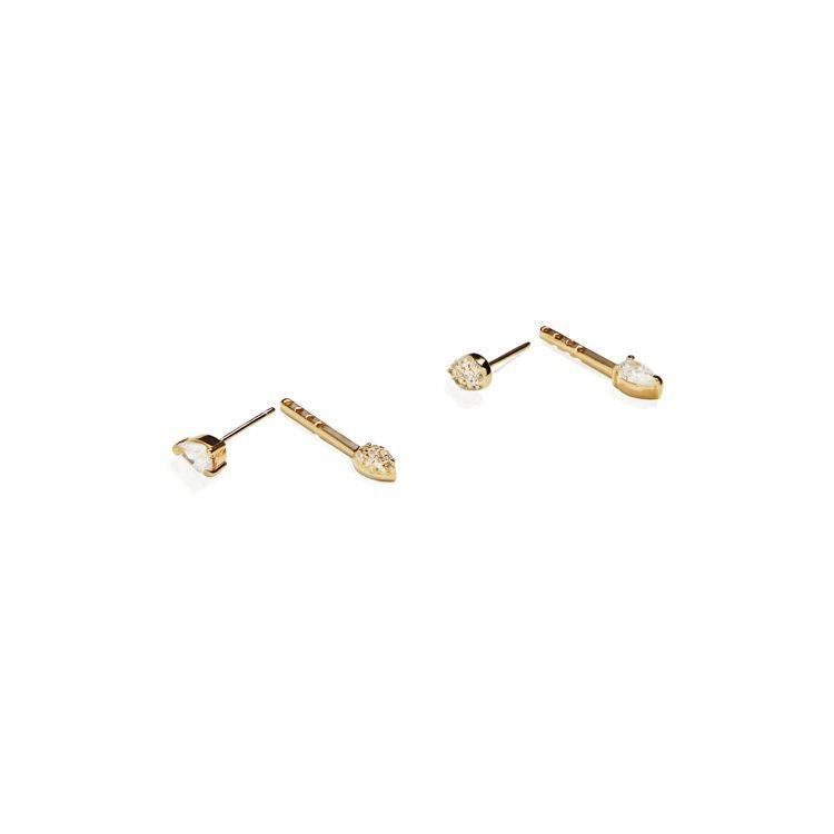 ARTISMI Tenir珍惜系列不對稱華麗寶石耳環,可拆開做兩用式配戴,可選擇...