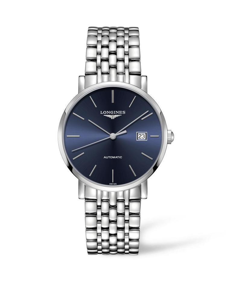 浪琴表優雅系列藍面釘字時標男士腕表,56,000元。圖 / 浪琴表提供