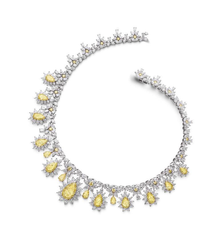 蕭邦Haute Joaillerie系列項鍊,鑲嵌共40.72克拉梨形黃彩鑽、5...