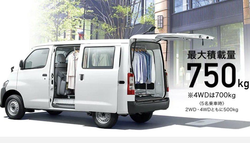 日規TOYOTA TownAce廂車最大載重量達750kg。 圖/TOYOTA提...