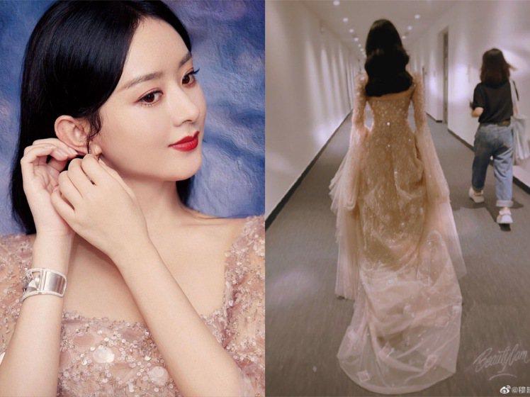 趙麗穎身穿Georges Hobeika婚紗系列,像是降臨人間的仙子。圖/(左)...