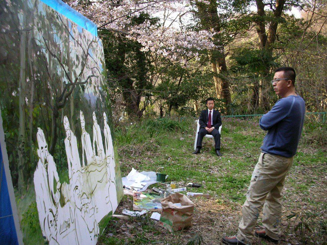 劉小東2007年在日本創作「櫻花樹下」。圖/誠品提供