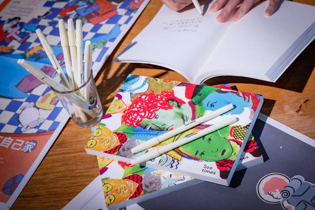 500案內所推出500輯與各插畫家合作的周邊商品。圖/沈昱嘉攝影