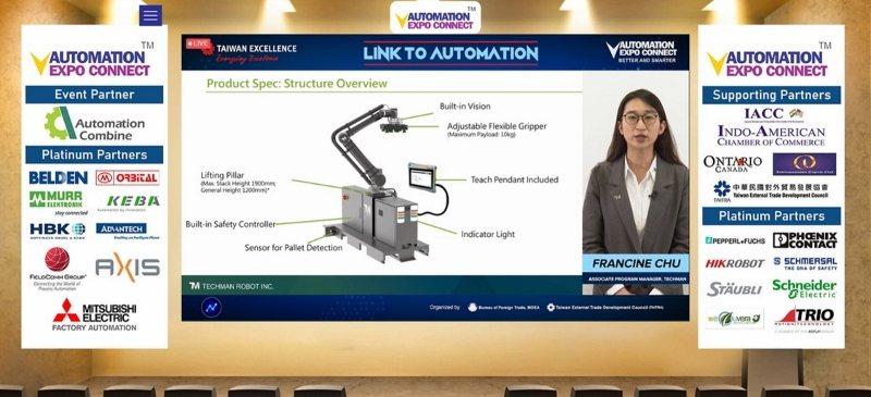達明機器人公司副理褚宛瑩在台灣精品發表會介紹該公司智慧堆棧解決方案。 貿協/提供