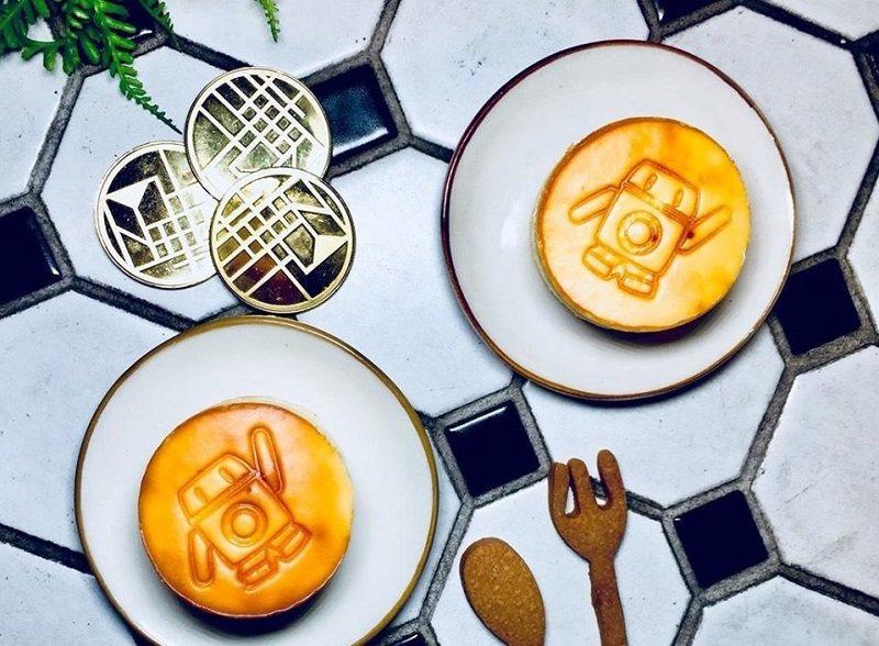 印上華山町吉祥物「寶比」圖案的乳酪蛋糕。