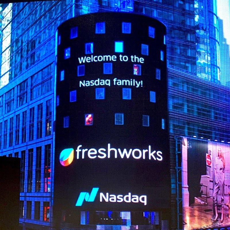 創立於印度清奈的軟體即服務公司Freshworks成功在美國那斯達克(Nasdaq)上市,旗下約12%的員工一夕之間躋身印度「千萬富翁」之列。圖/取自推特