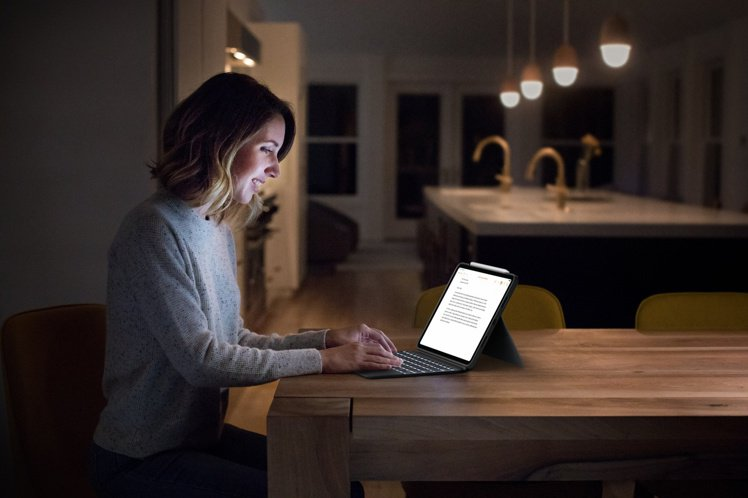 全新升級背光鍵盤,可自動調節16級亮度,工作環境不受限。圖/羅技提供
