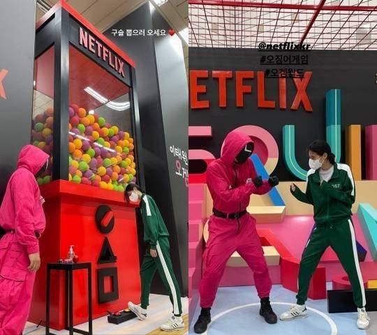 鄭好娟日前戴口罩、換回綠色制服重新朝聖「魷魚遊戲」劇中場景,並拍照上傳IG限動。...