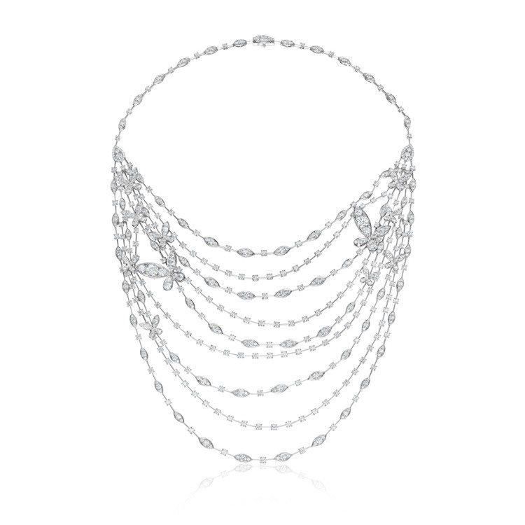 Aerial Regal Butterly白K金鑽石項鍊,590萬元。圖/Hea...