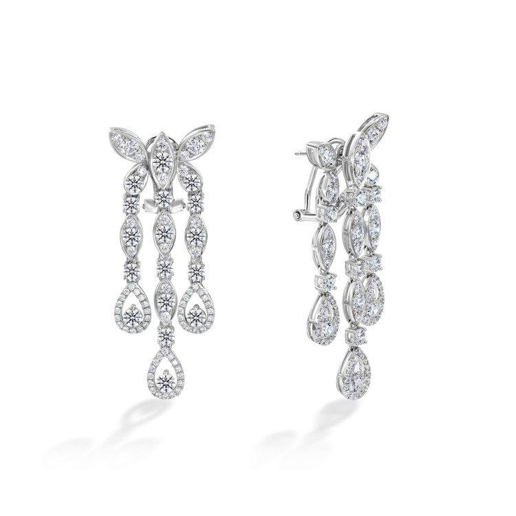 Aerial Regal Butterly白K金鑽石耳環,49萬8,000元。圖...