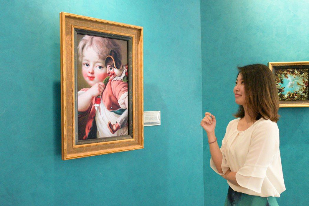 透過A.R.T.顯示技術展示的「小男孩與滑稽木偶」傳遞肖像的細膩質感,還原博物館...