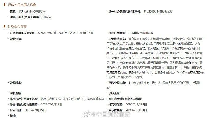 市場監管局對曹操出行關聯企業的處罰文件。(取自中國消費者報)