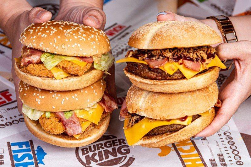 網路調查顯示,勁濃安格斯牛肉堡、美式花生雙層脆雞堡等餐點最受嘉義人歡迎。圖/漢堡王提供