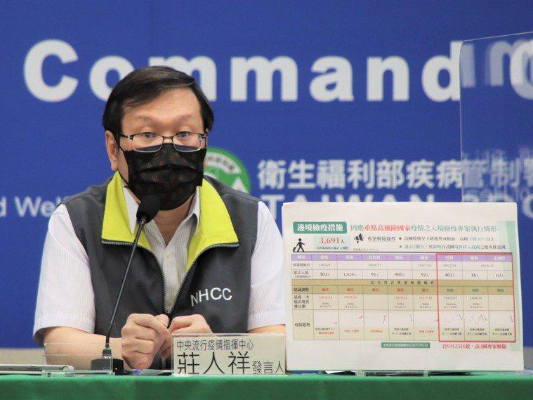 指揮中心發言人莊人祥指出,目前國內規畫成人於至少六周後可施打第二劑BNT疫苗,對...