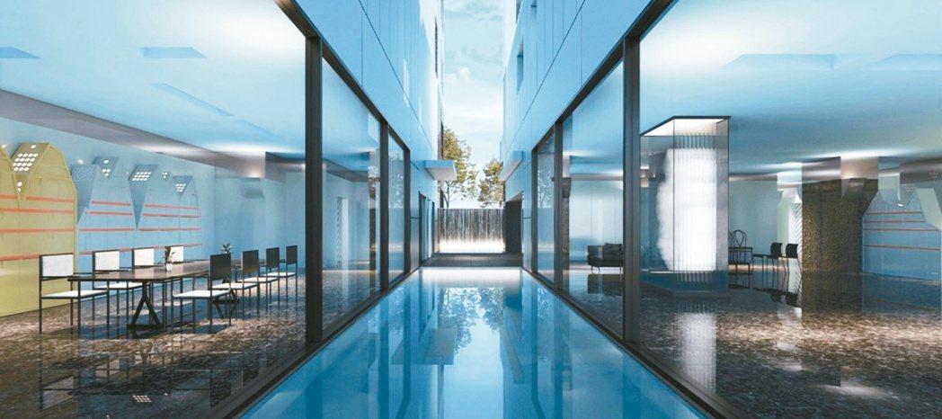 原廣司在兩幢建築之間,打造鏡面水池、氟碳飾板來反射天光水色,展現獨特的詩意。圖/...