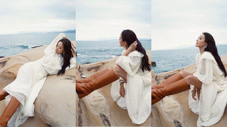 孫芸芸坦承在海邊穿冬裝,其實很熱,但她還是拍出了唯美又浪漫的美照。圖/取自IG