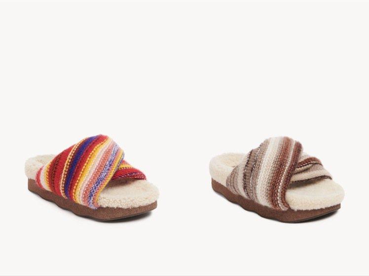 Chloé Wavy米色、紅色條紋羊毛外出拖鞋,各售25,300元。圖/Chlo...