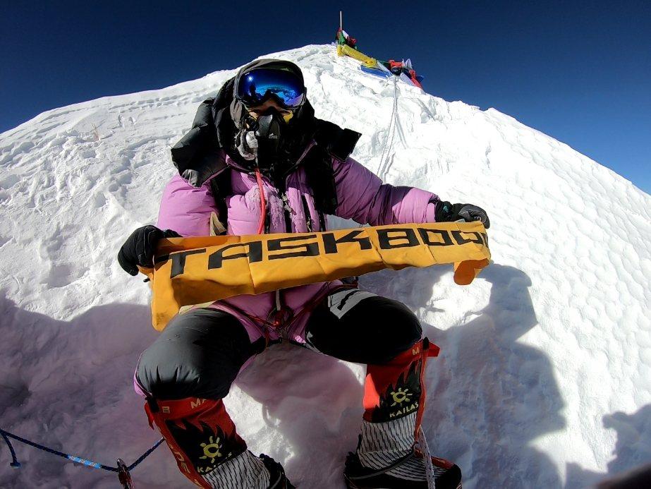 詹喬愉是第一個登上馬卡魯峰的臺灣登山家。 圖/詹喬愉提供