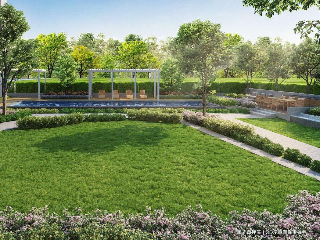 泳池、戶外草坪區景觀3D示意圖。 (圖/遠雄提供)