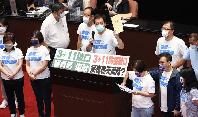 國民黨立委因不滿「3+11」報告沒有檢討,持續杯葛議事。記者潘俊宏/攝影