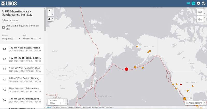 美國地質調查局(USGS)表示,美國最西端城市、阿拉斯加埃達克距離184公里處,發生規模6.3地震。圖/美國地質調查局