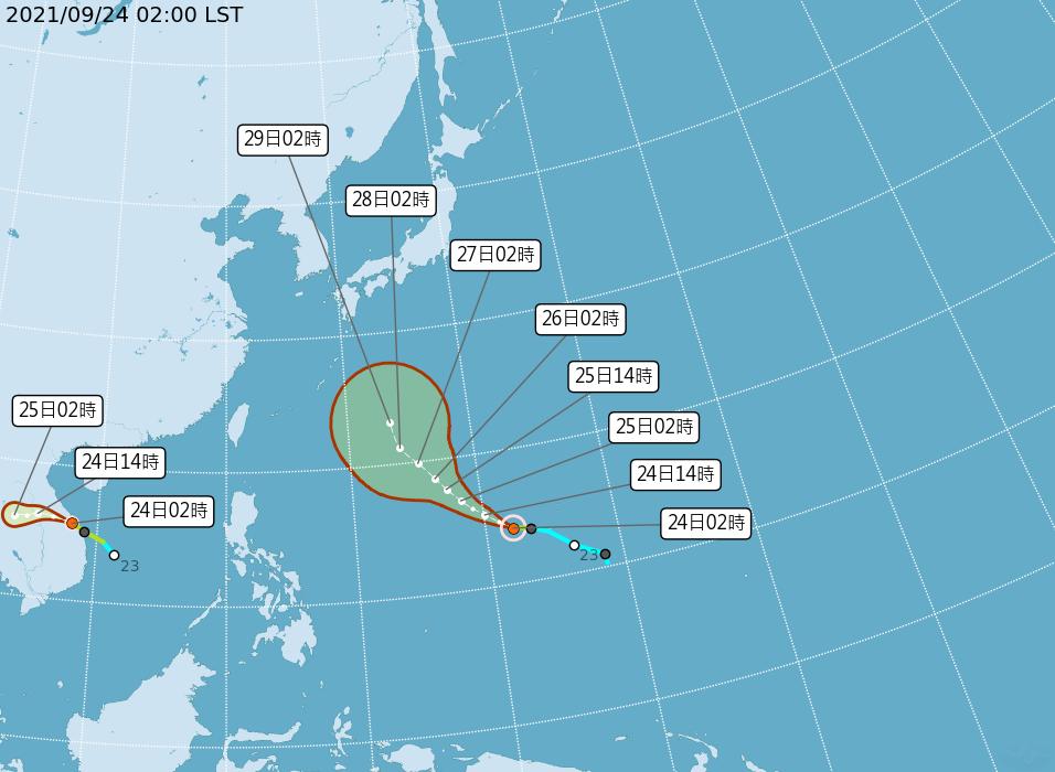 太平洋地區有2個颱風,分別是輕度颱風蒲公英和輕度颱風電母。圖/取自氣象局網站