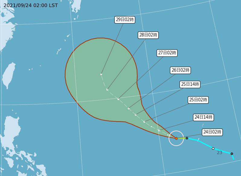 今年第16號颱風蒲公英最新路徑潛勢預報。圖/取自氣象局網站