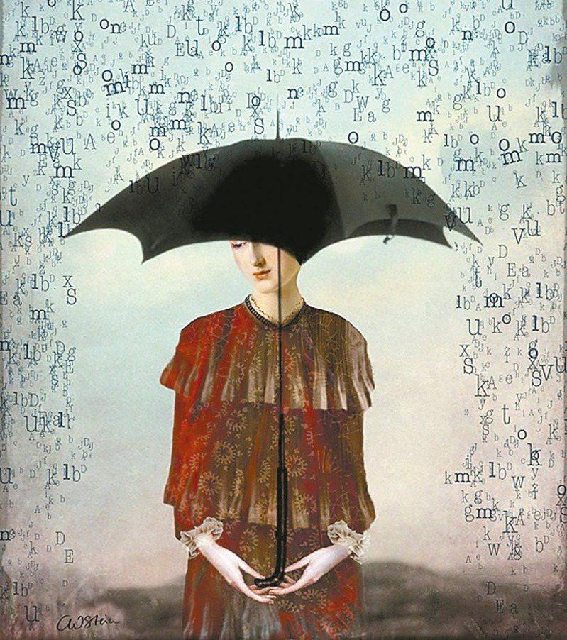 雨滴如詩,撐傘抵抗流言。Catrin Welz-Stein此畫互聯帽子歌后與張愛玲的抗拒美學。畫名〈留我無言〉(Leaving Me Speechless)。(圖/陳建志提供)