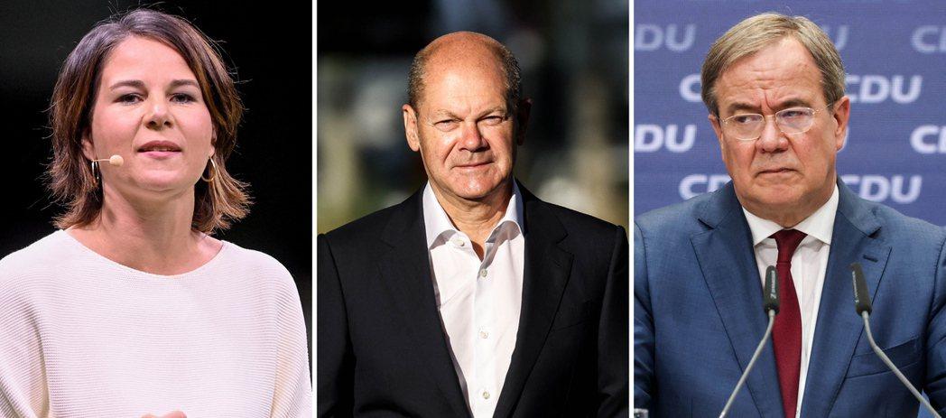 德國大選最主要的三名總理候選人為綠黨的貝爾伯克(左起)、社民黨的蕭茲、基民基社聯...